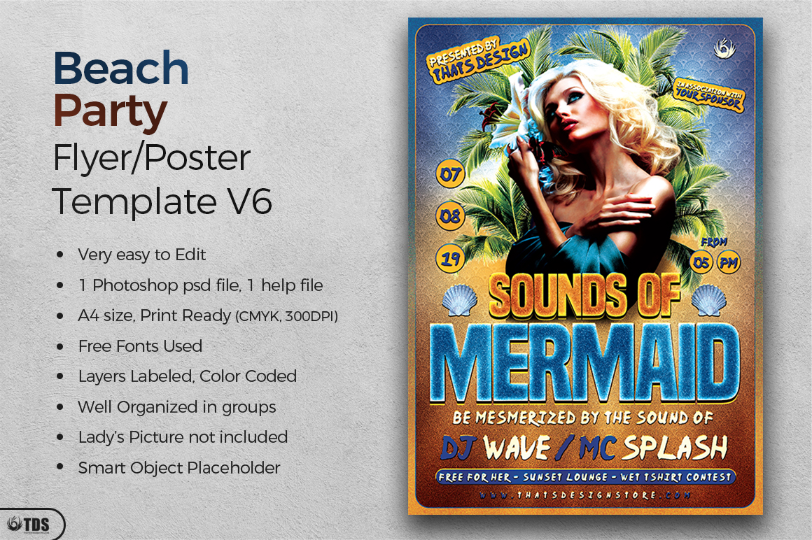 Beach Party Flyer Template V6 example image 2