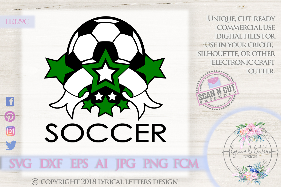 Soccer Sports Banner with Stars SVG DXF FCM LL029C example image 1