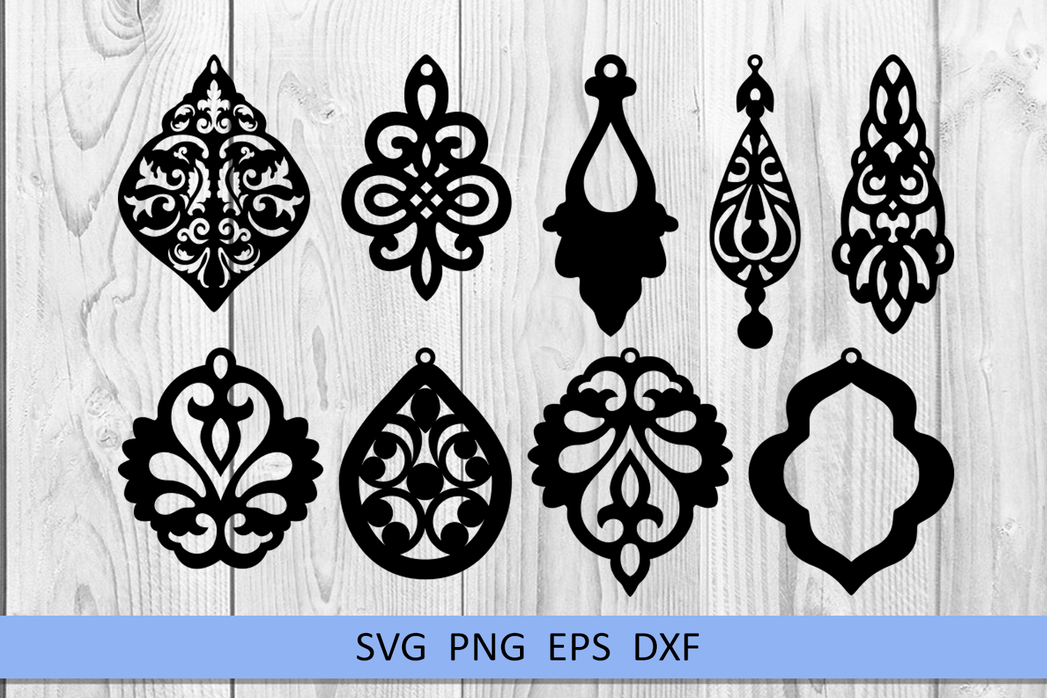9 Damask earrings svg Leather earrings svg Necklace svg example image 2