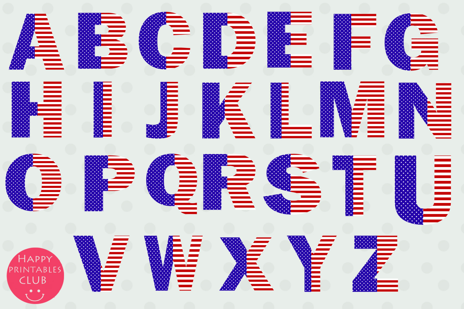 July 4 Stars and Stripes Alphabets Numbers Clipart Graphics example image 2