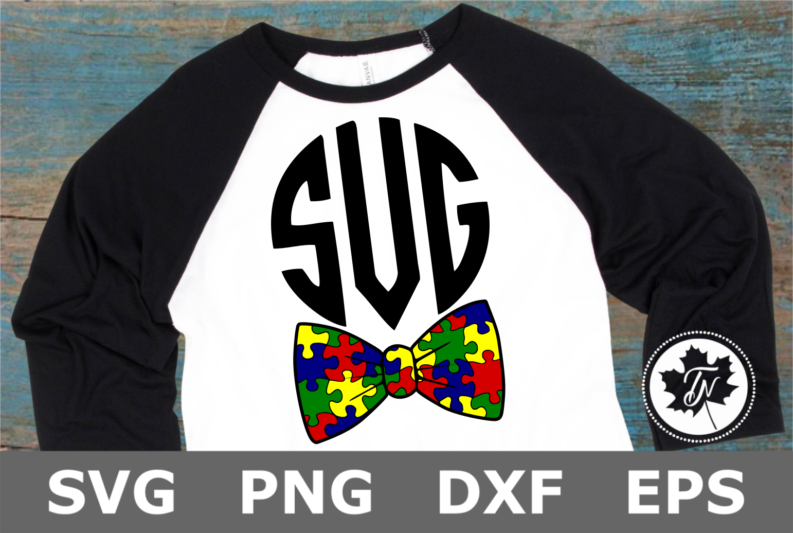 Puzzle Piece Bow Tie - An Autism Awareness SVG Cut File example image 1