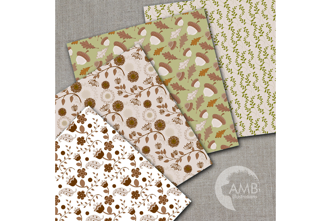 Autumn Leaves Digital Papers, Autumn Scrapbooking Papers, Floral digital paper, Leaves Paper, Acorn paper, Commercial Use, AMB-1404 example image 2
