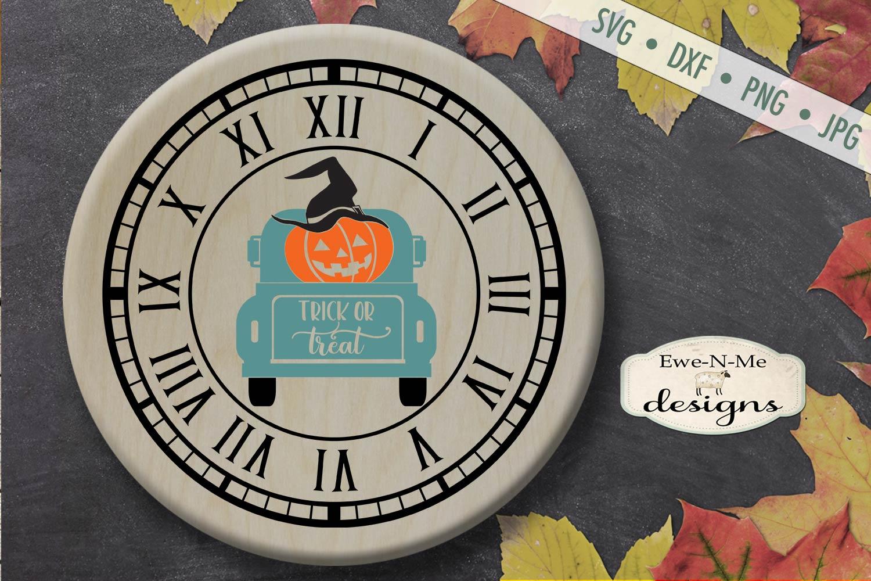 Clock SVG - Halloween Clock - Jack O Lantern Truck - SVG DXF example image 1
