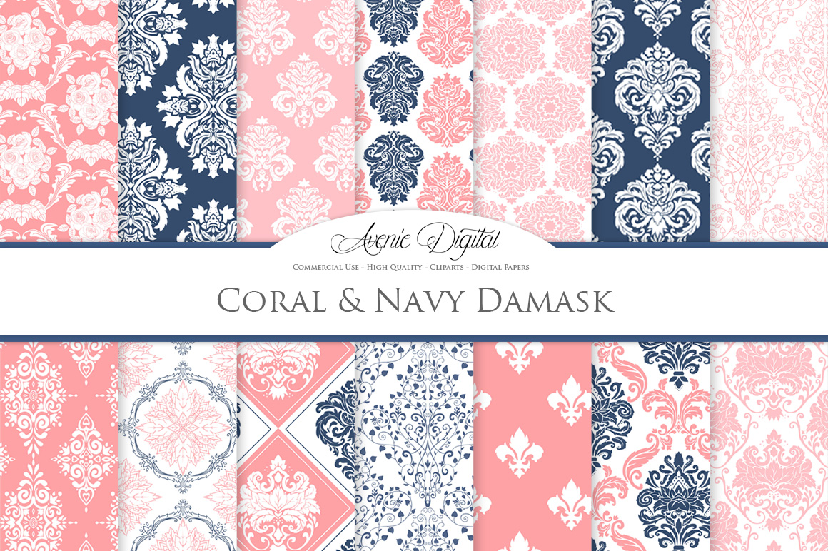 Coral and Navy Damask Patterns - Seamless Digital Papers example image 2