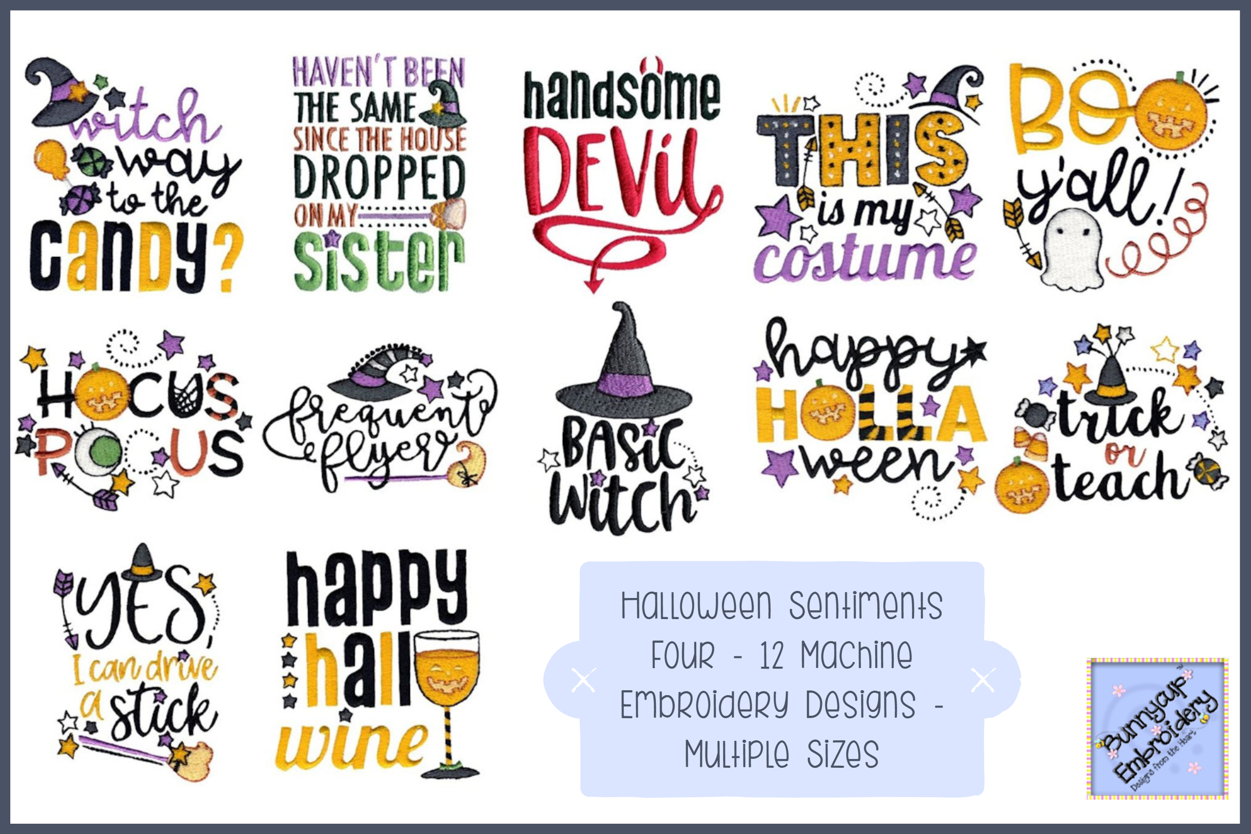 Halloween Sentiments Four - 12 Machine Embroidery Designs example image 1