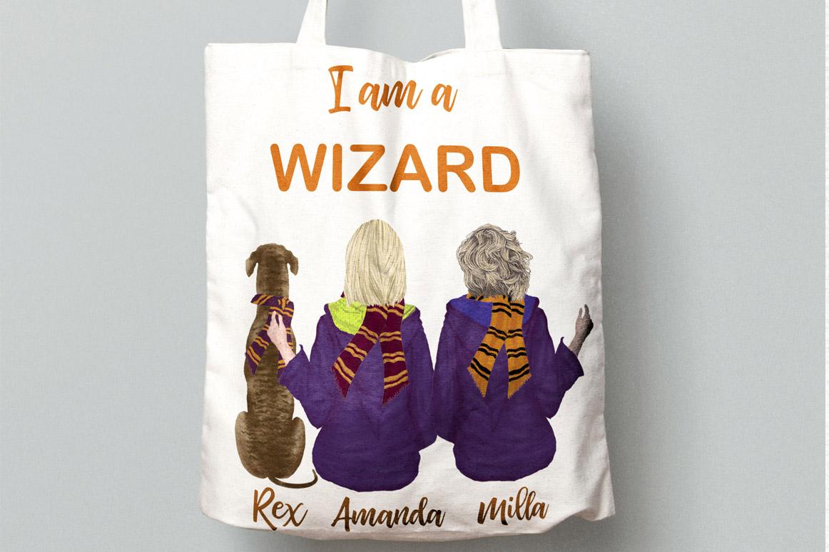 Wizard Girls, Castel Landscape, Dog clipart Wizard friends example image 5