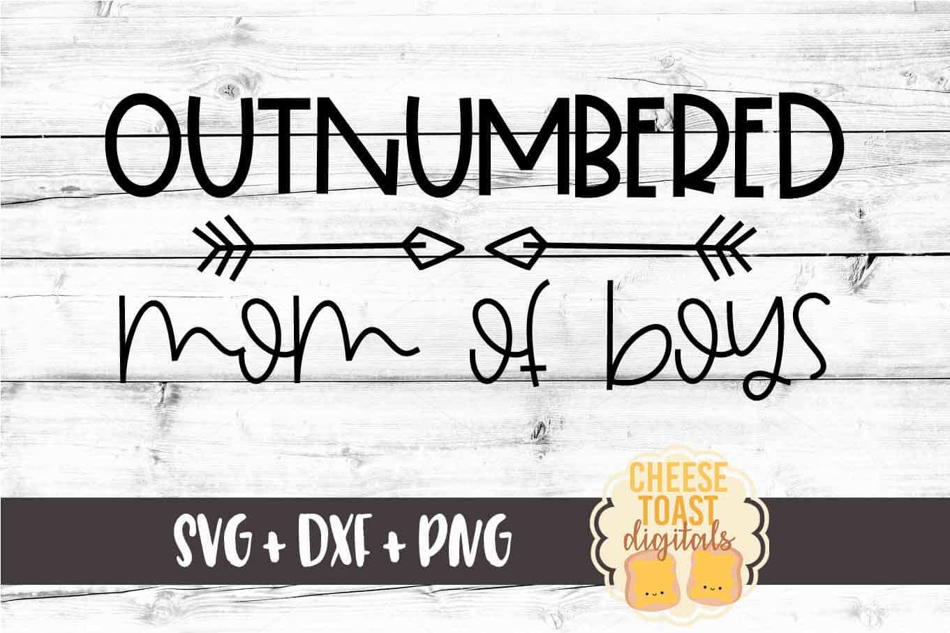 Outnumbered Mom of Boys - Funny Mom SVG PNG DXF Cut Files example image 2