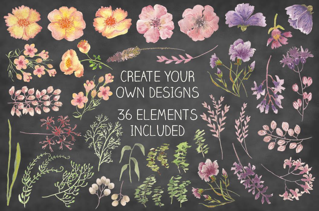 Watercolor clip art bundle: wild flowers example image 4