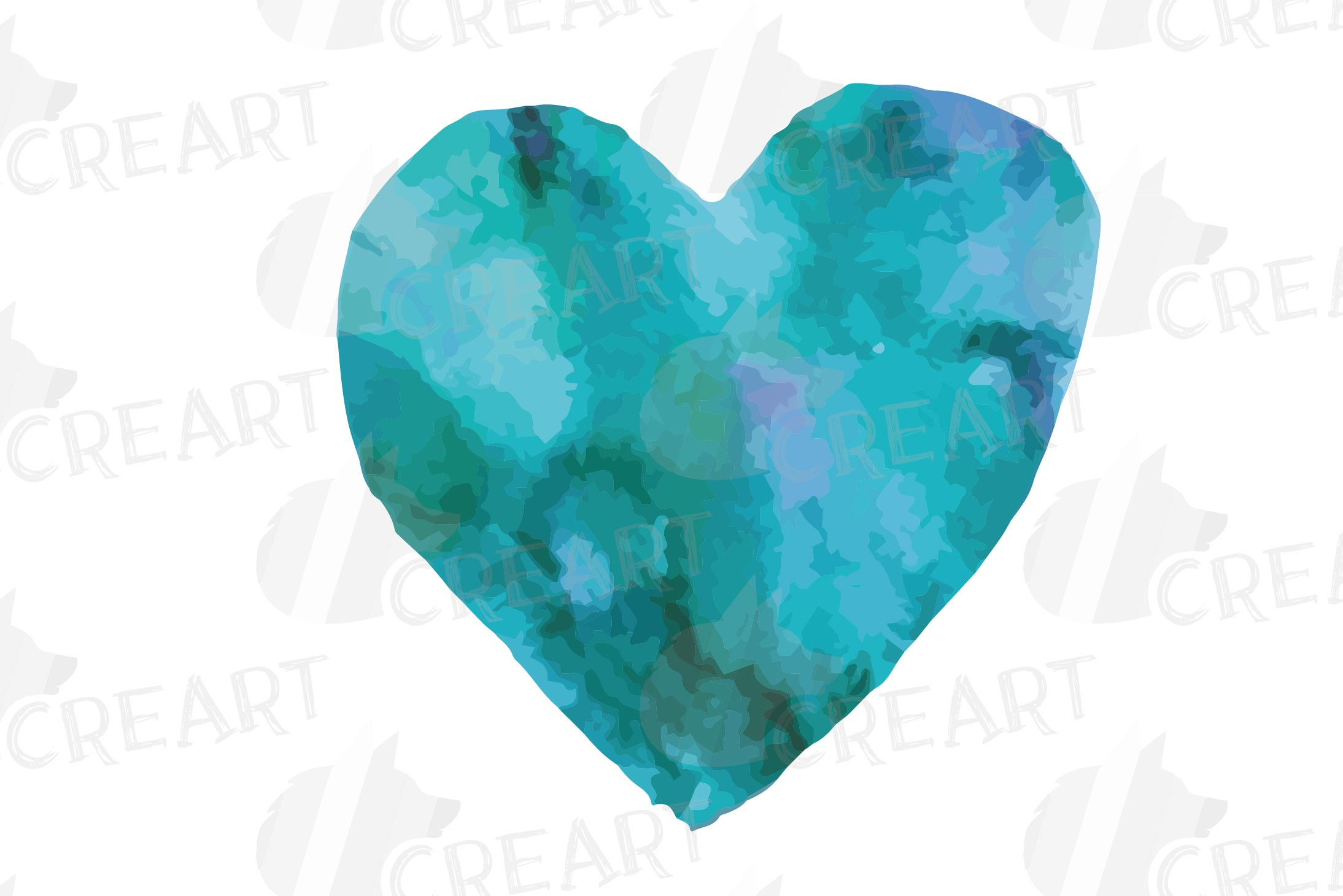 Watercolor little hearts clip art, colorful Valentine example image 11