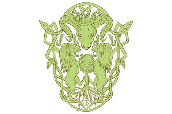 Bighorn Sheep Lion Tree Coat of Arms Celtic Knot example image 1