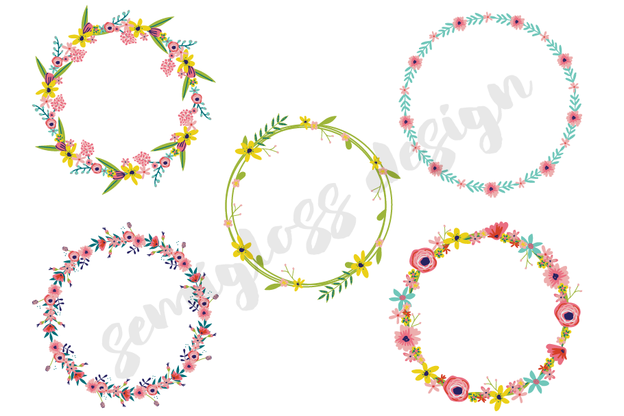 Floral Wreath Clipart with Hand-drawn Flowers example image 2