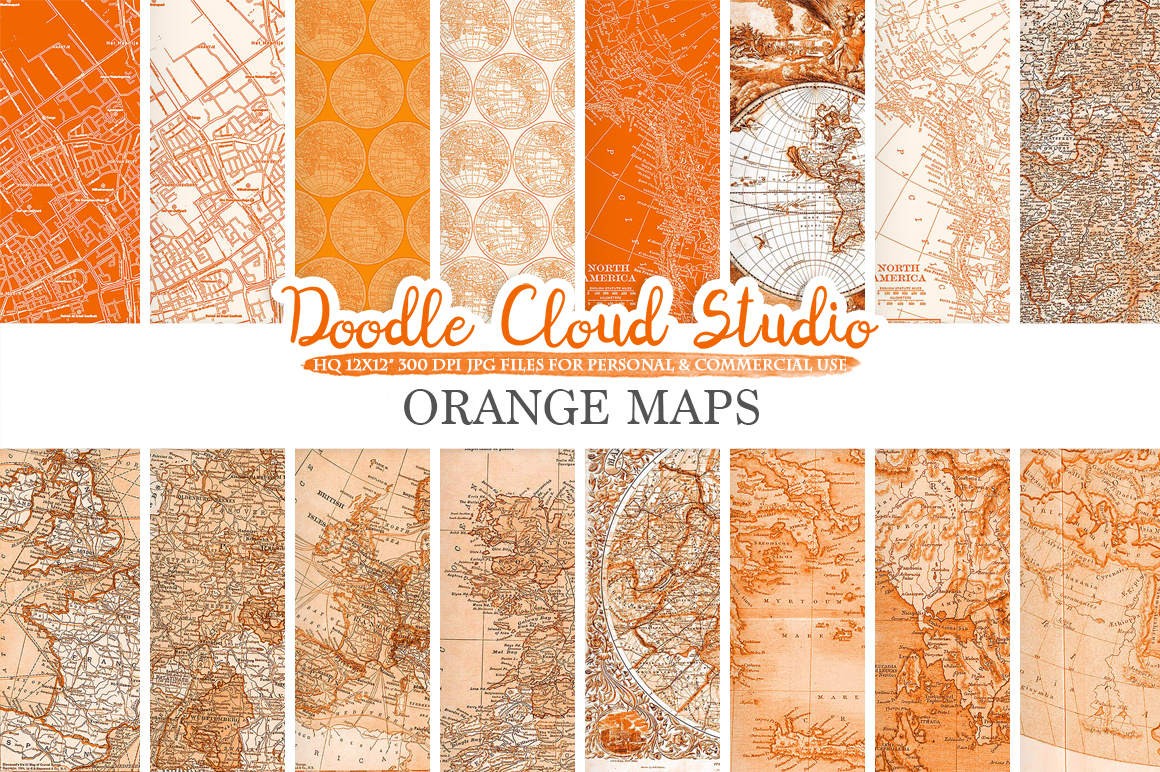 Orange Maps digital paper, Vintage Old World Map, City Map, Nautical Maps geographic map textures Instant Download Personal & Commercial Use example image 1