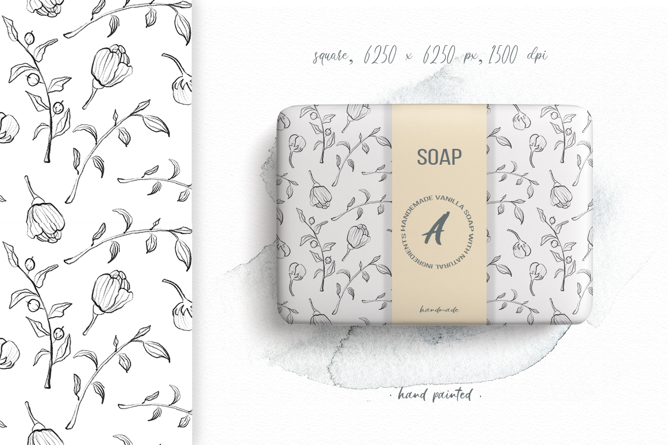 Flower and leaves sketch patterns, Seamless backgrounds example image 3