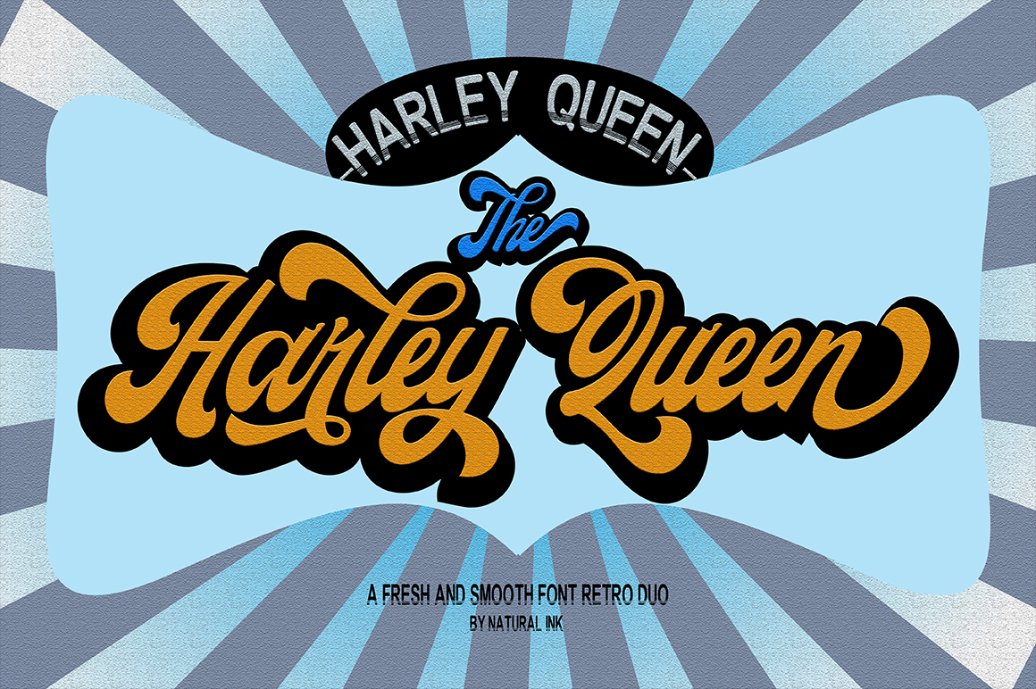 Harley Queen-Retro Font duo and Extrude example image 7