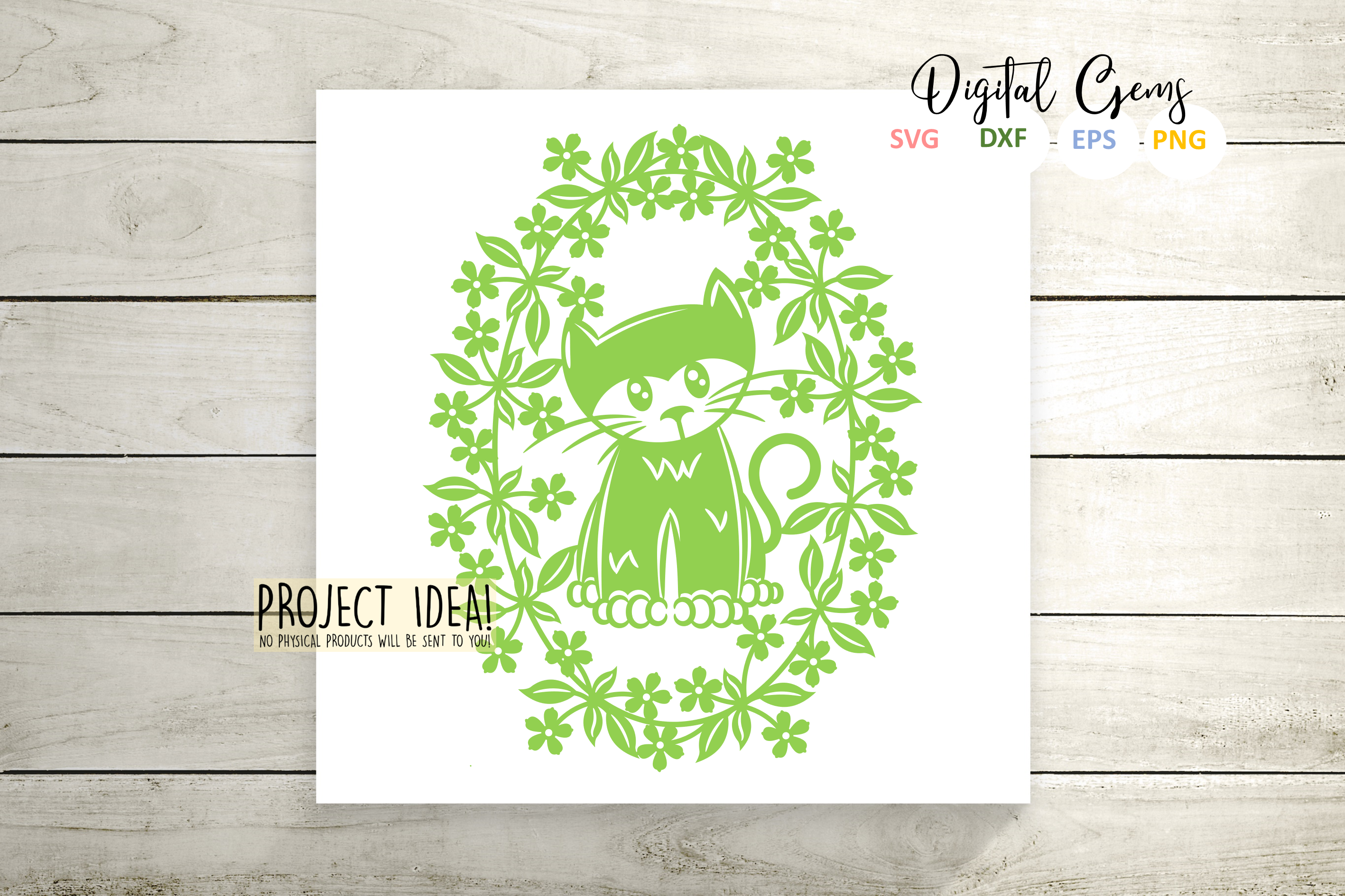 Cat paper cut design SVG / DXF / EPS / PNG files example image 6