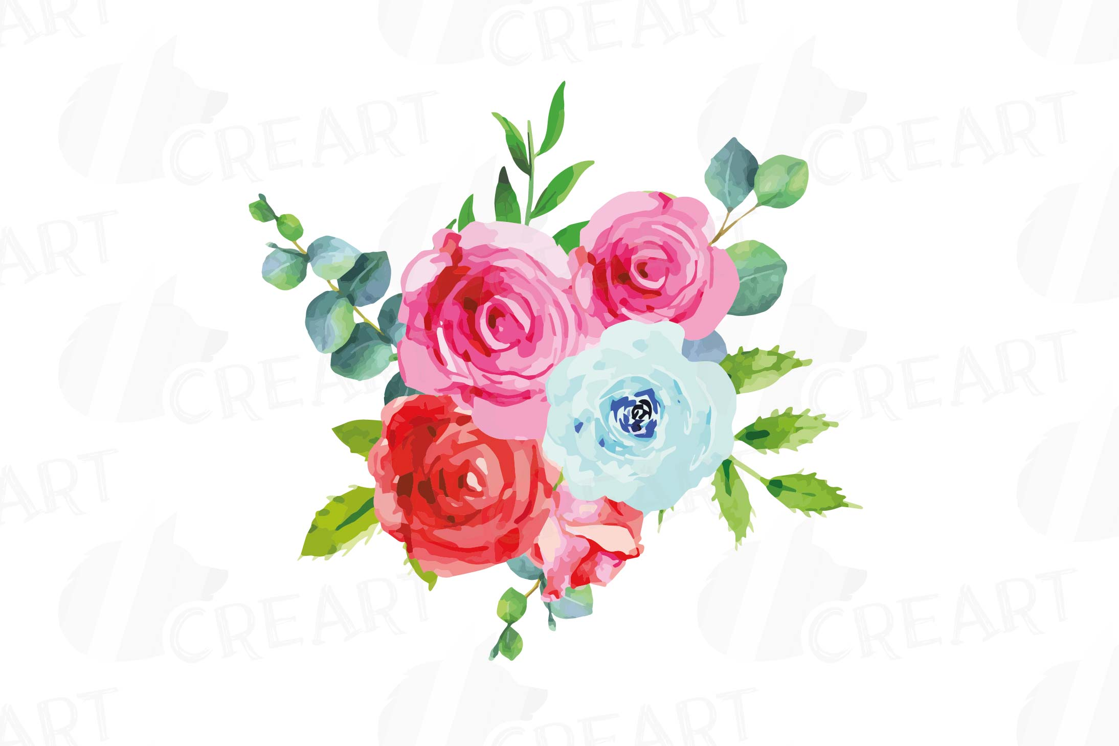 Watercolor Pink and Blue Roses and leafs clip art pack, png example image 10