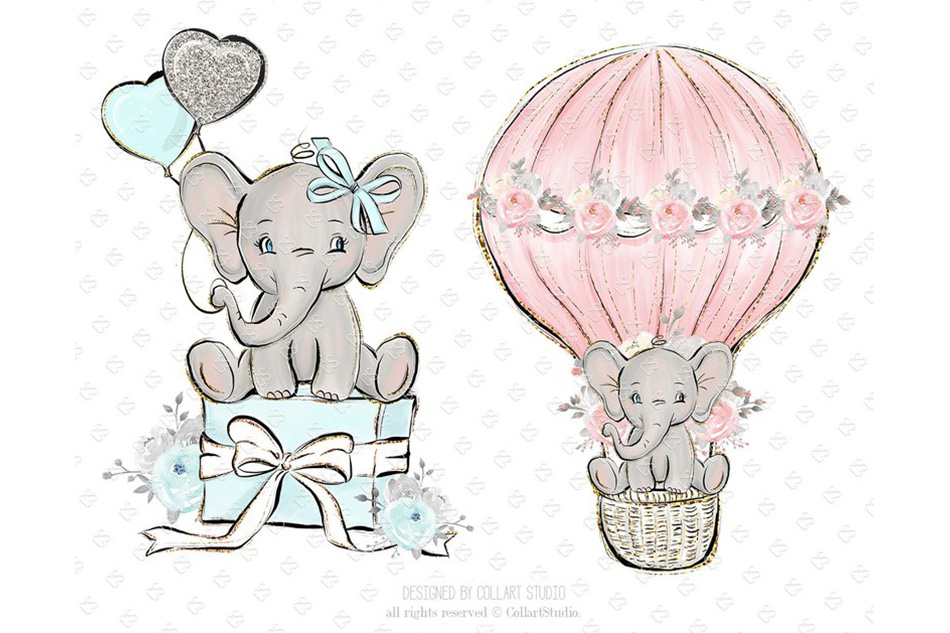 Baby Elephant clipart, Baby boy baby girl clipart, birthday example image 3