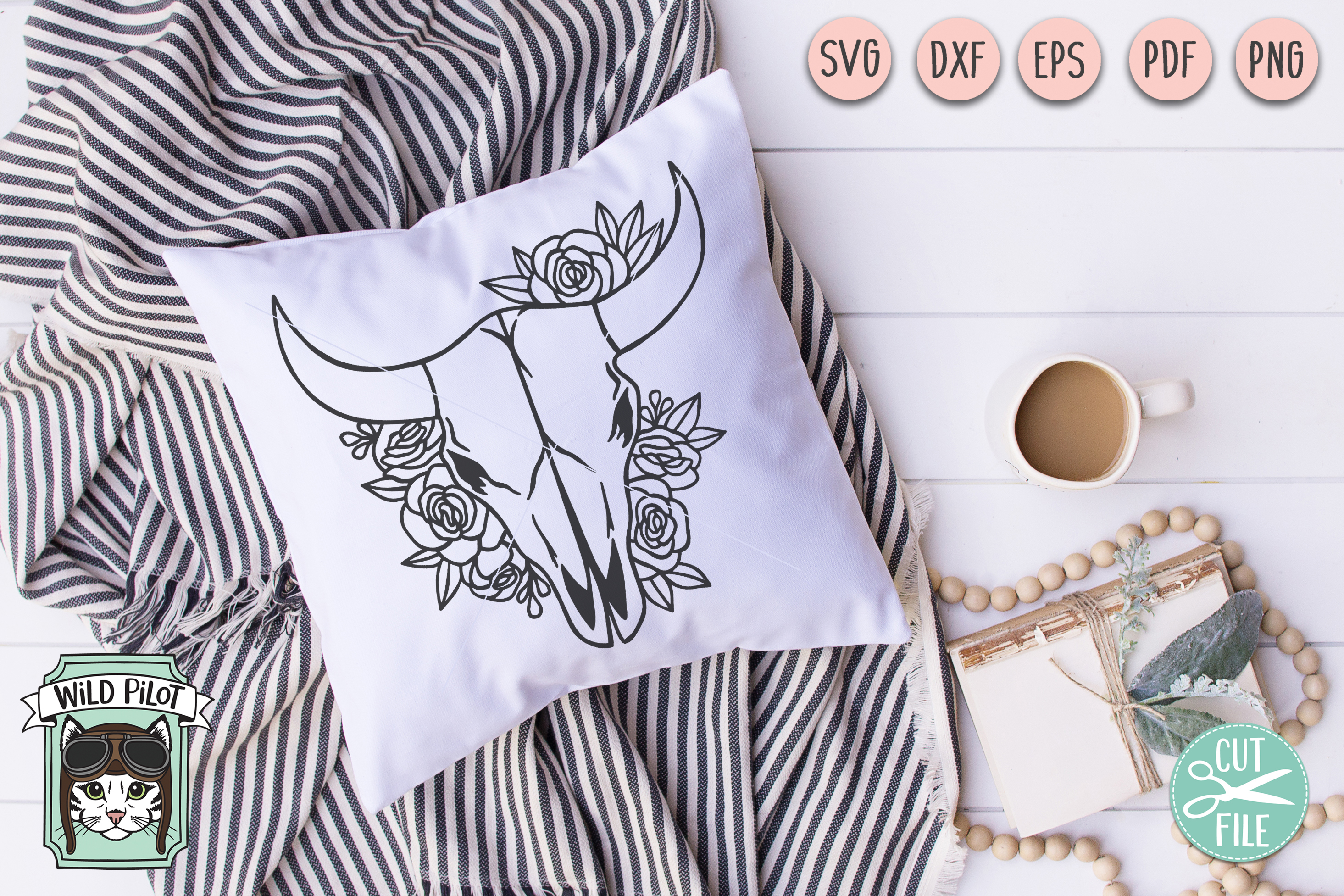 Cow Skull svg file, Cow Skull cut file, Cow Skull Flowers example image 3