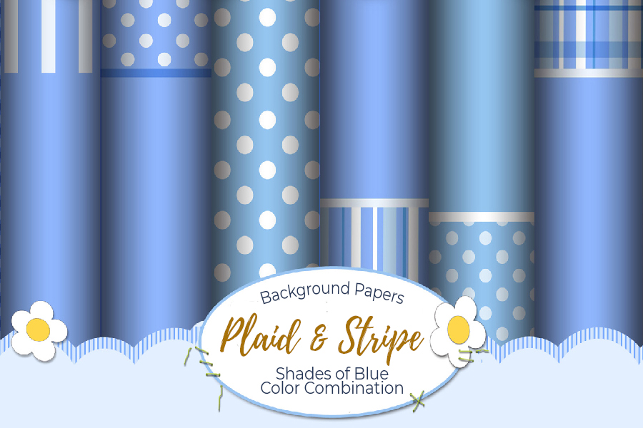 54 Plaid,Stripe & Dots on Blue Shades JPG Background Papers example image 14