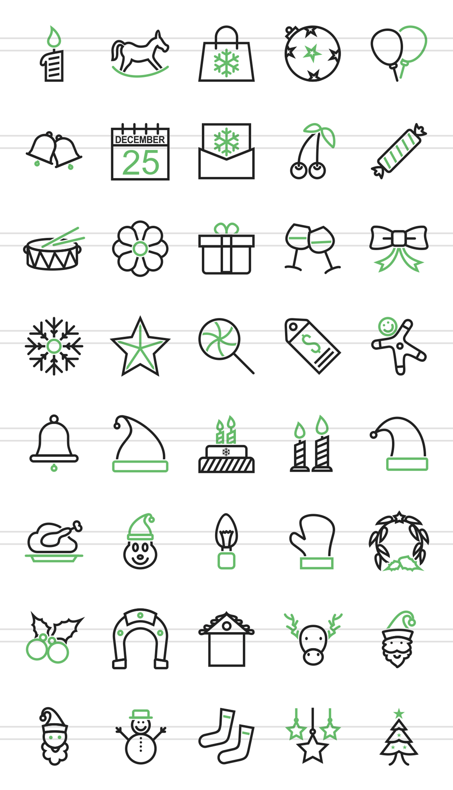 40 Christmas Line Green & Black Icons example image 2