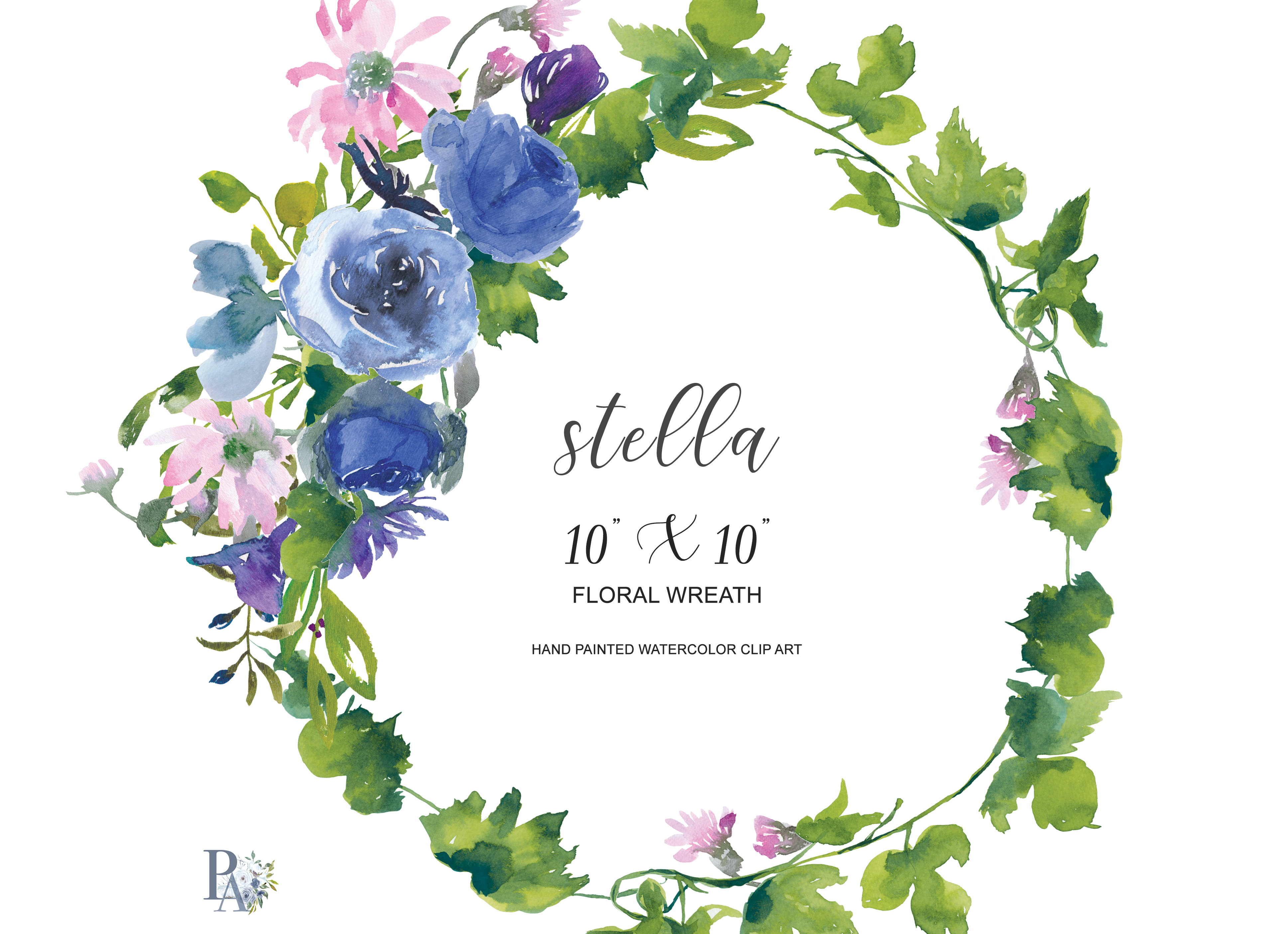 Watercolor Sapphire And Pink Flowers Wr Design Bundles