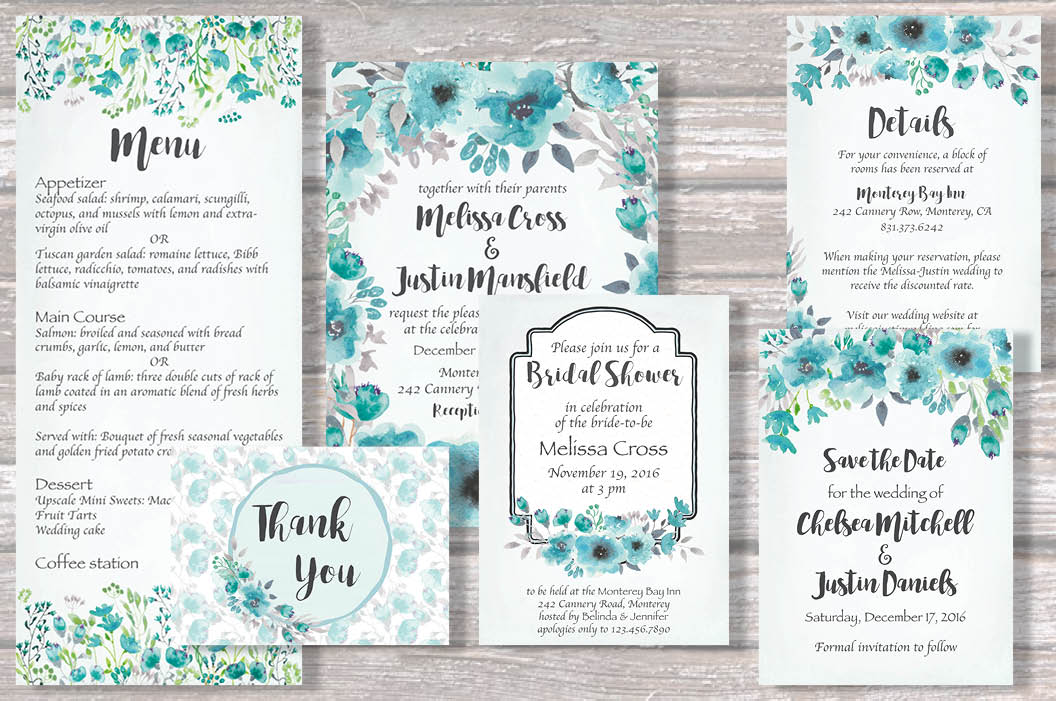 Watercolor clip art bundle: turquoise flowers example image 2