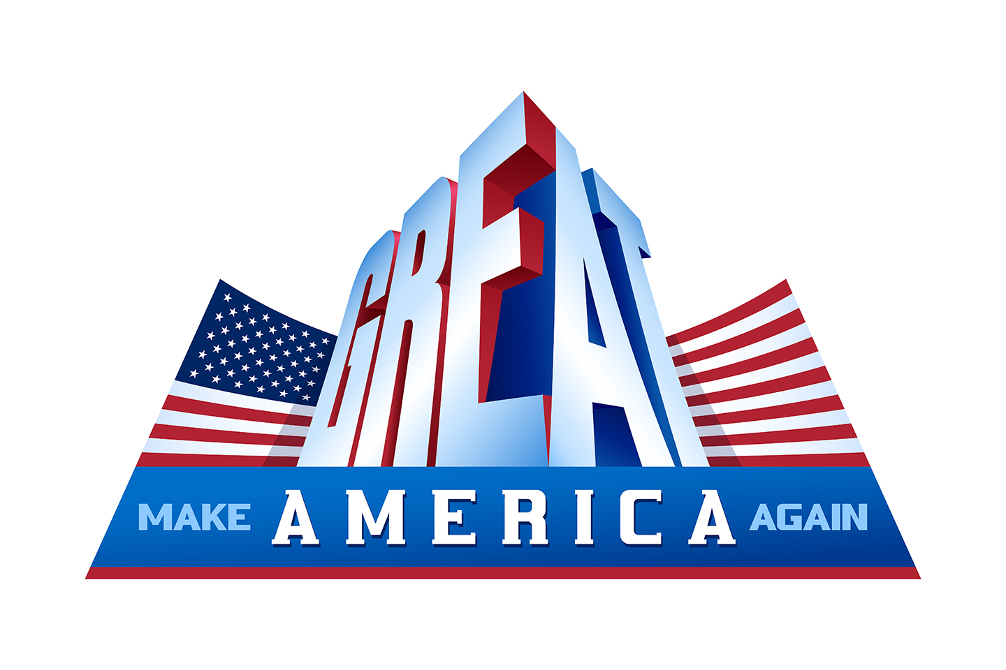 Vector USA Flag Make America Great Again Proud Patriotism Word Assotiation example image 1
