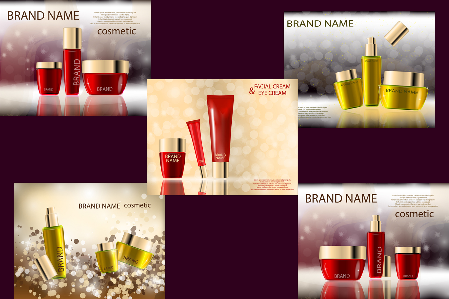 Glamorous Beauty Care Products Packages, Mock-ups, 3D Realistic Vector template example image 2