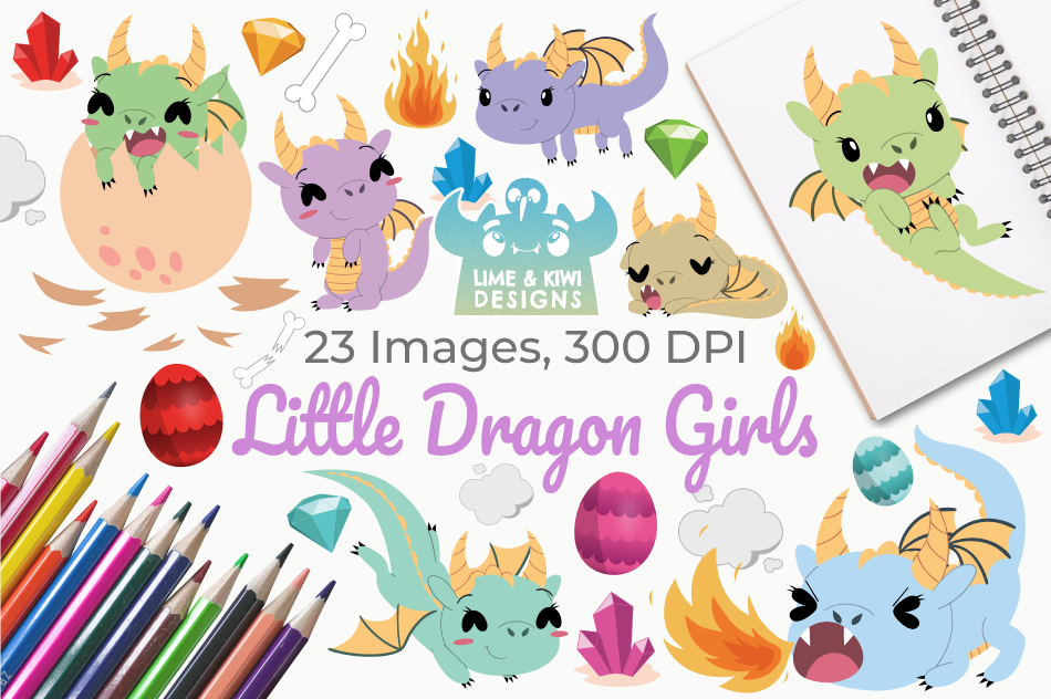 Little Dragon Girls Clipart, Instant Download Vector Art example image 1