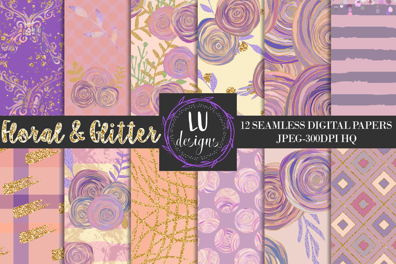 Floral Glitter Digital Paper Pack, Purple Floral Wedding Backgrounds example image 1