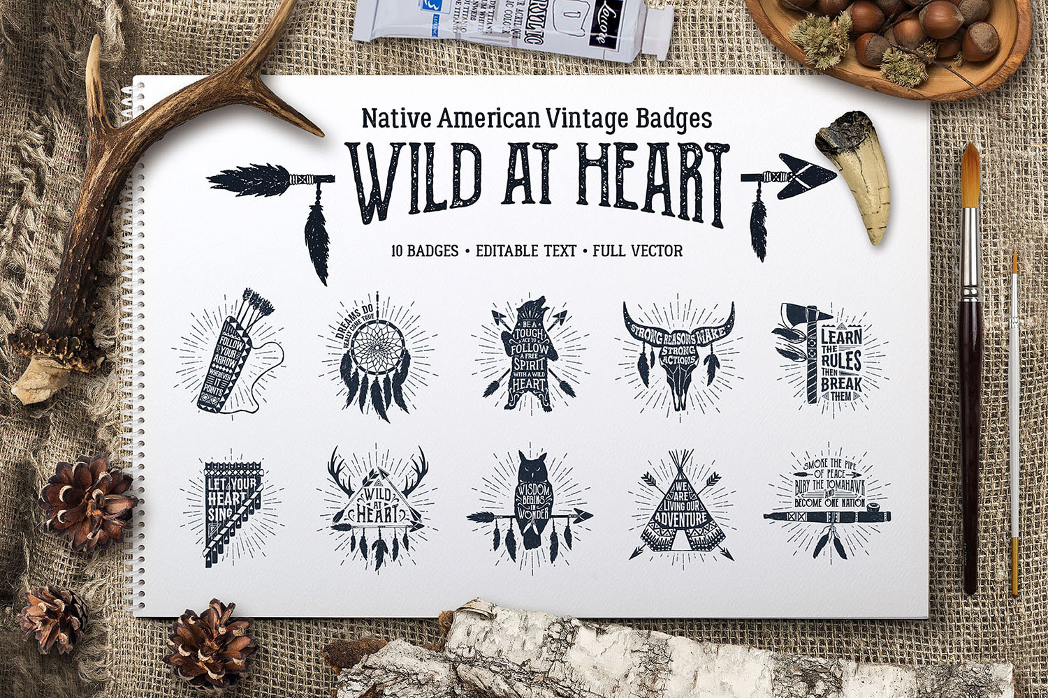 Wild at Heart. Native American Vintage Badges. Vol.1 example image 1