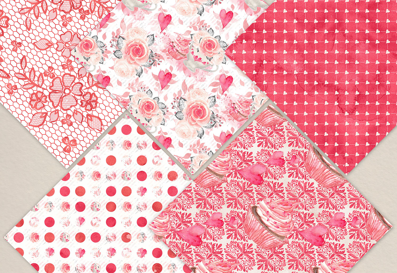 Watercolor Sweet Valentine digital paper pack example image 3