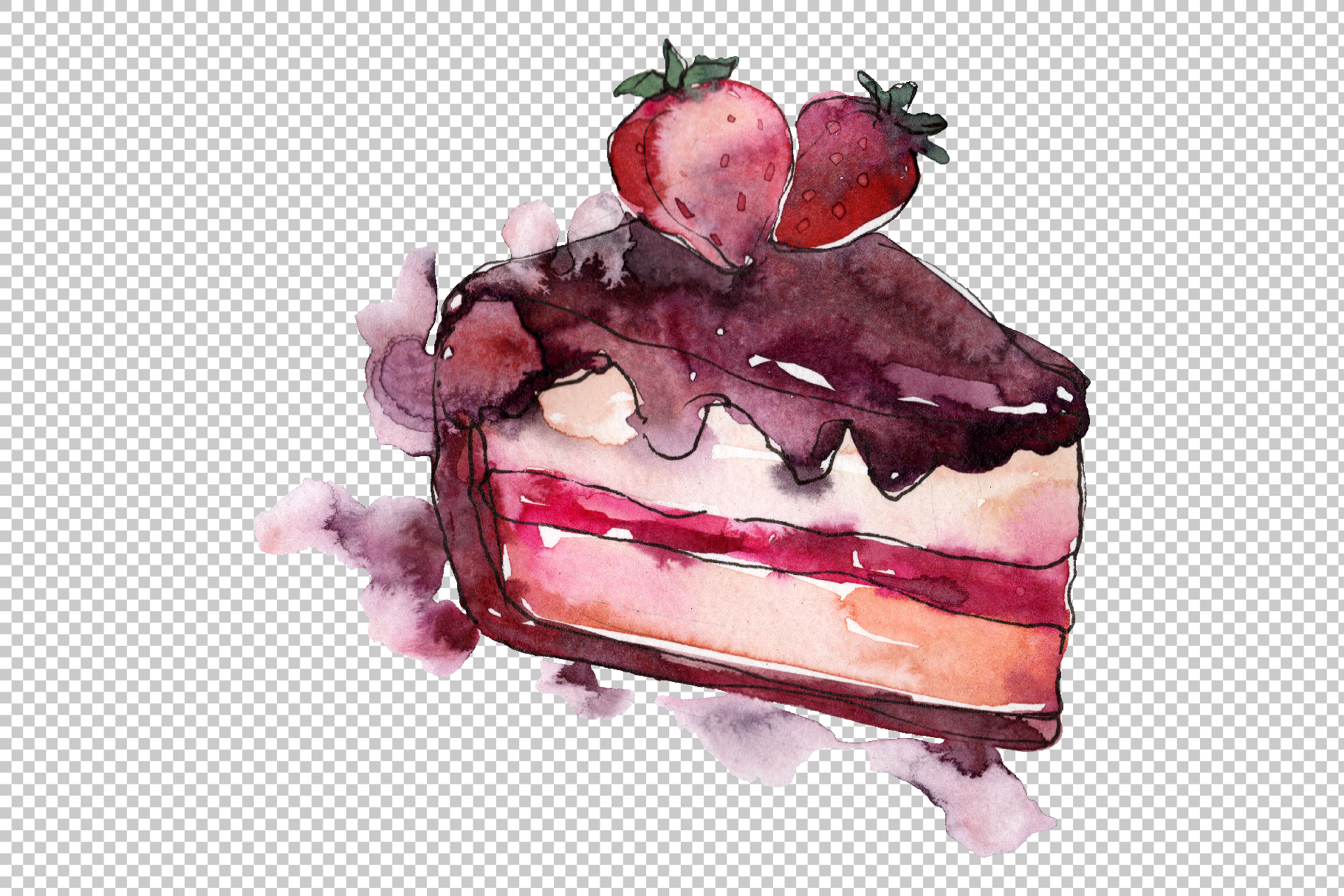 Dessert Love story Watercolor png example image 2