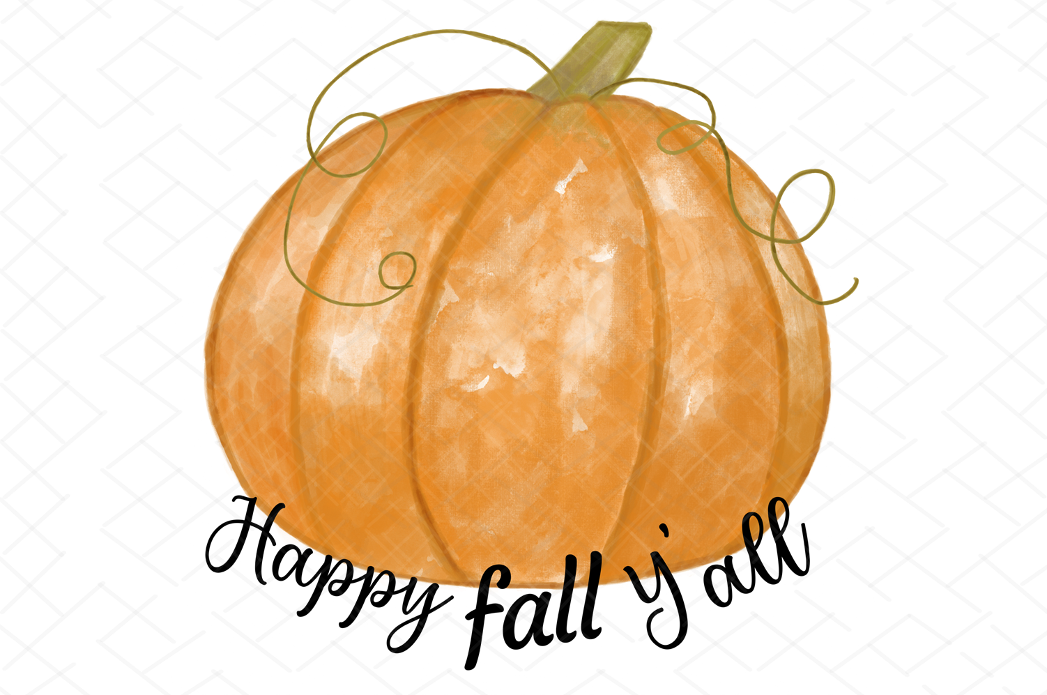 Happy Fall Y'all Watercolor Pumpkin Sublimation Clipart example image 2