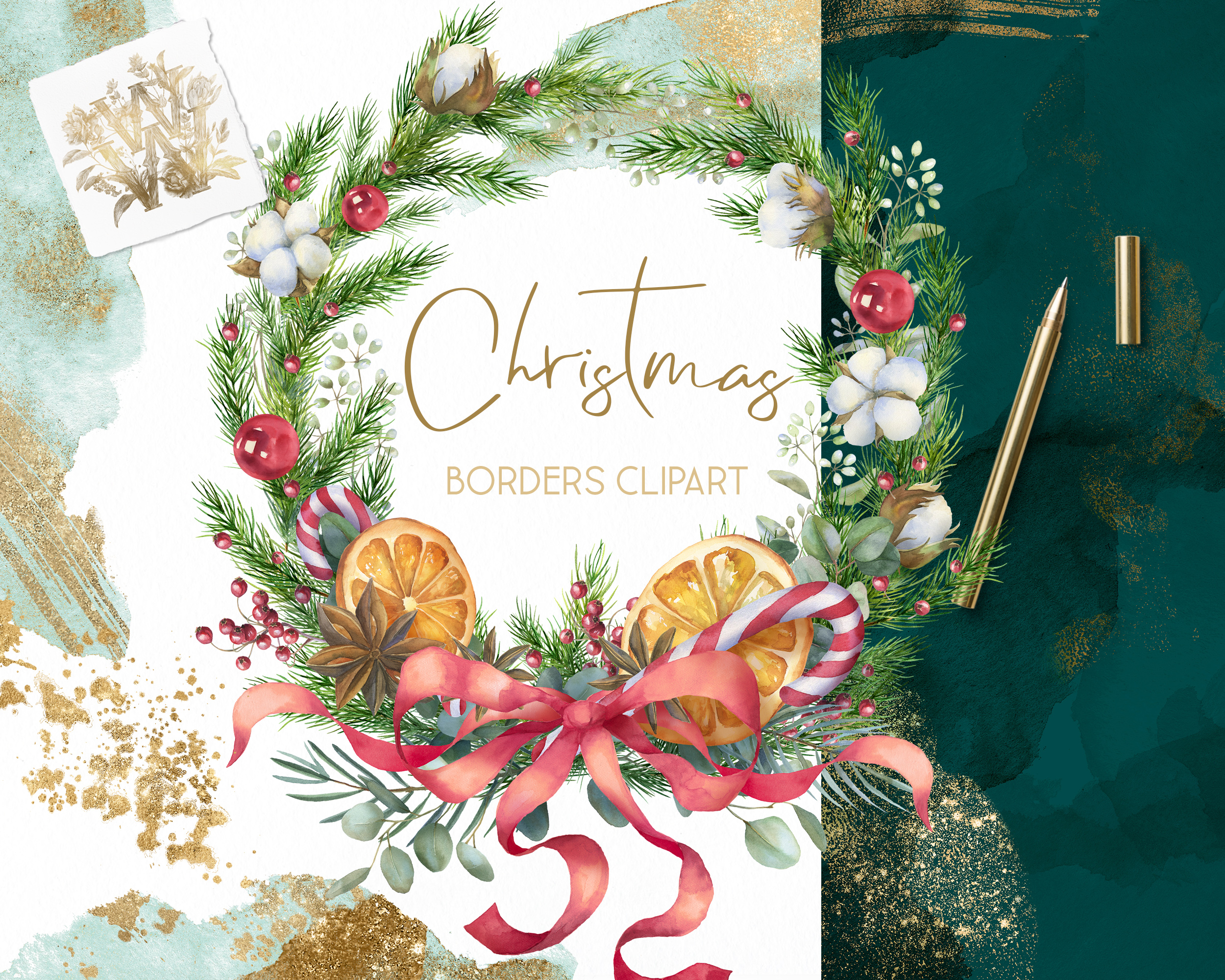 Christmas watercolor border, Poinsettia wedding Bouquet png example image 5