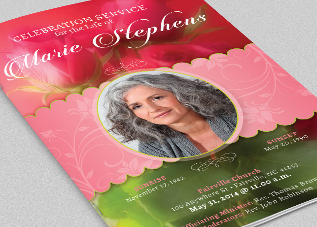 Decorative Funeral Program Template example image 1