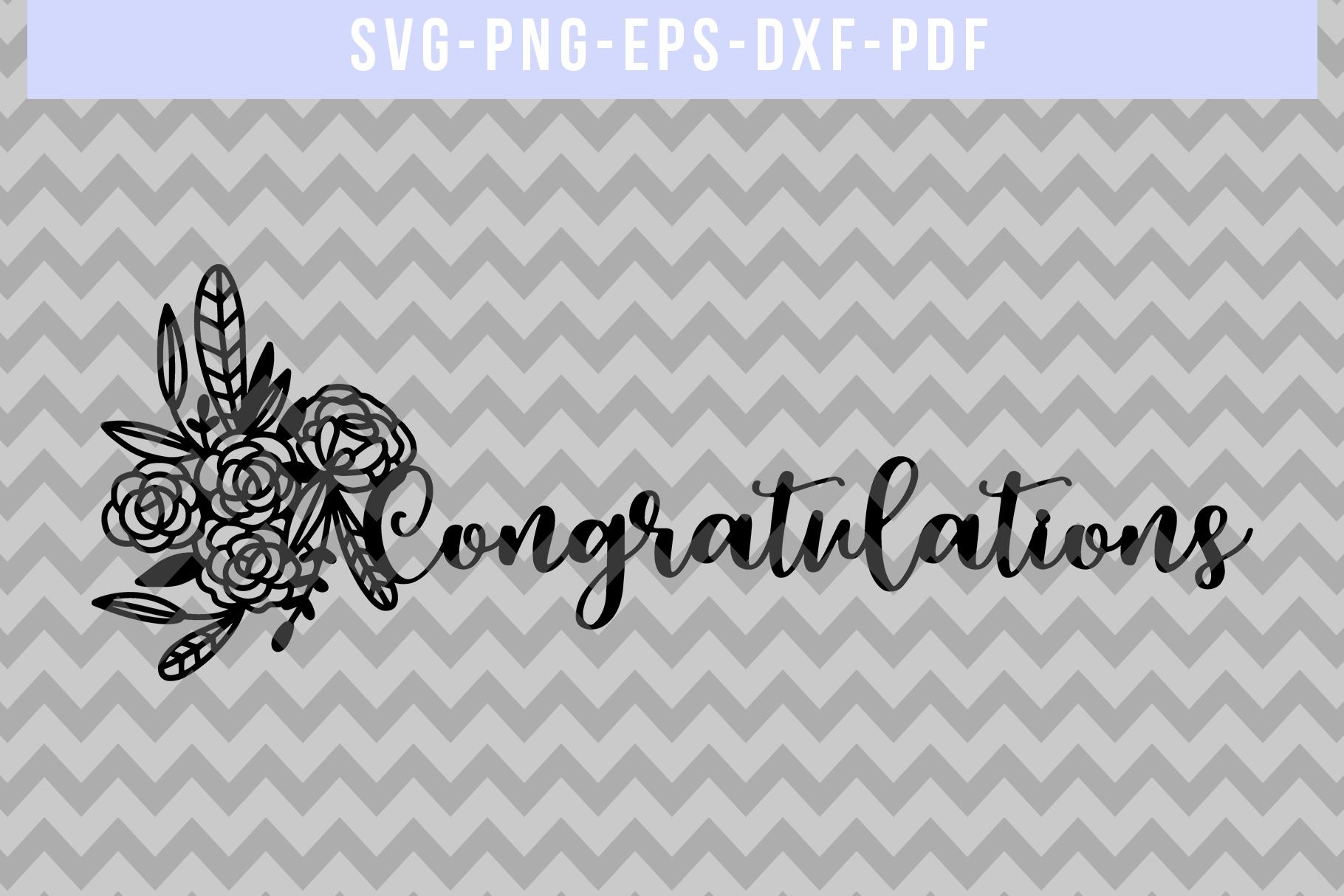 Congratulations Papercut Template, Wedding Cut File, SVG PDF example image 4