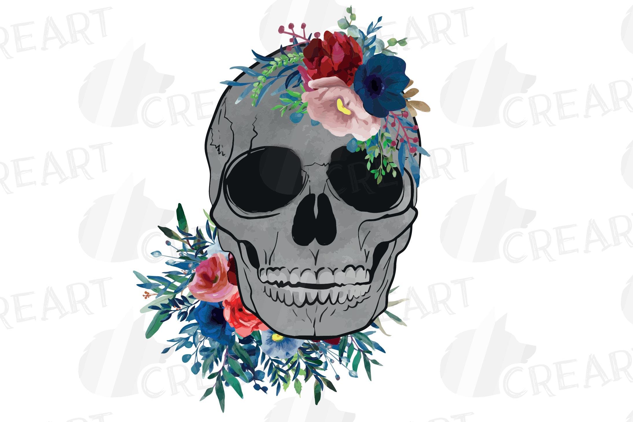 Floral skull watercolor decoration clip art. Skull shirt png example image 4