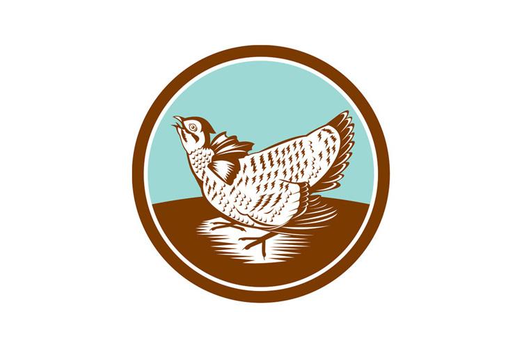 Prairie Chicken Retro Circle example image 1