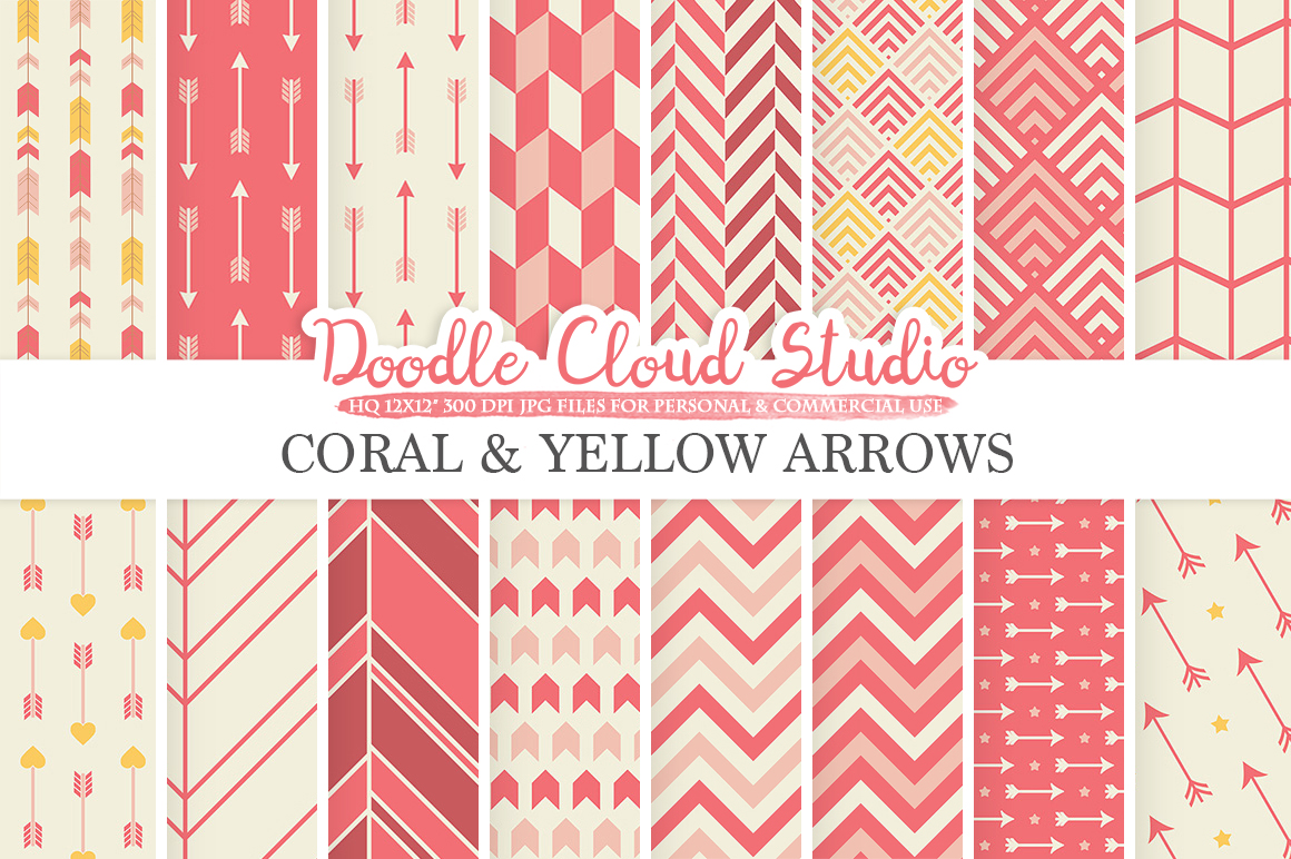 Coral and Yellow Arrows digital paper Pink Coral Arrow patterns tribal archery chevron triangles backgrounds for Personal & Commercial Use example image 1