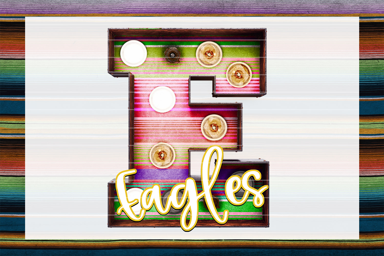 Eagles Sunset Serape Marquee Sublimation PNG example image 1