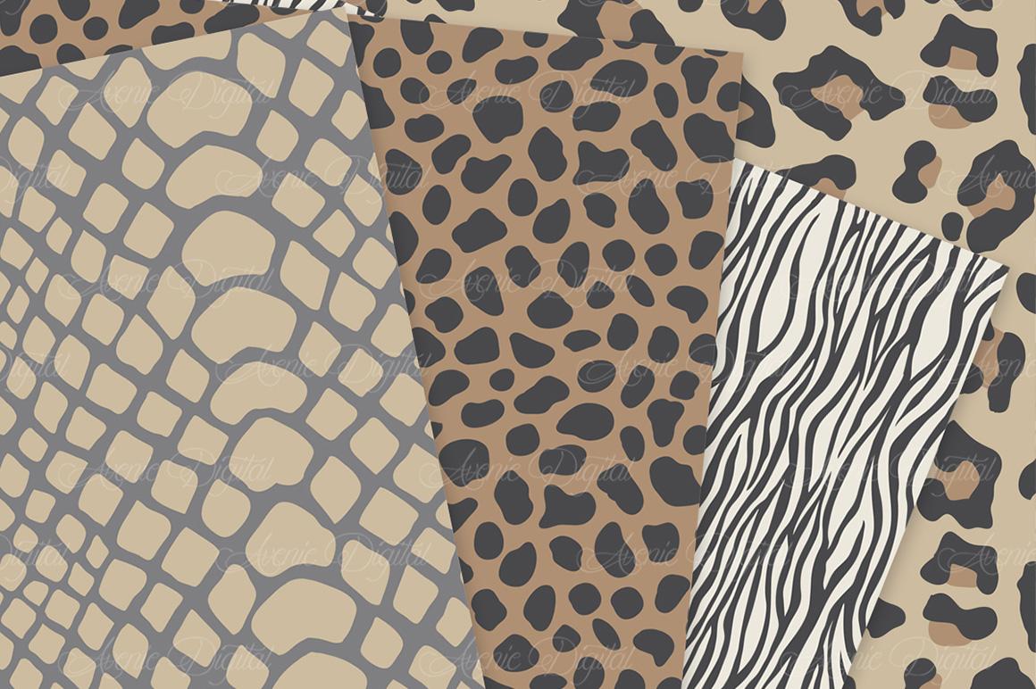 Neutral Animal Print Vector Patterns - Brown Safari Seamless Digital Papers example image 2