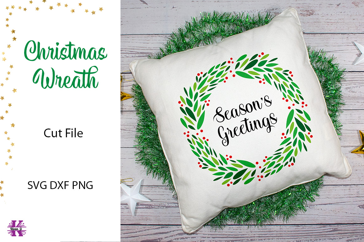 Christmas Wreath SVG Cut File example image 1