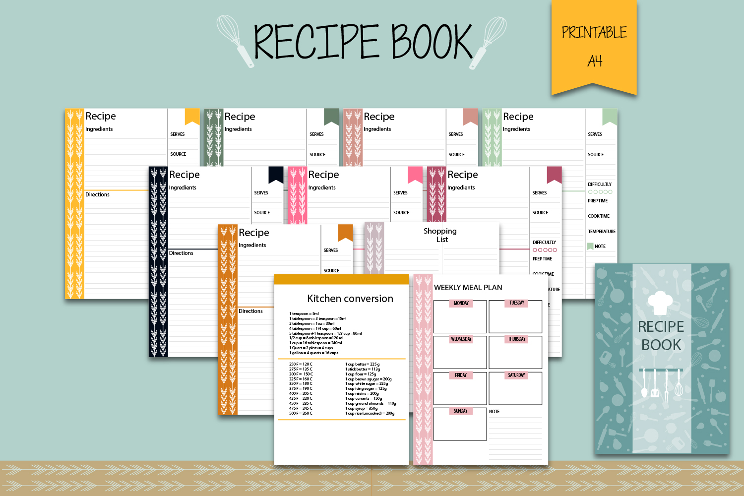 Recipe binder, Recipe book, Printable planner example image 1