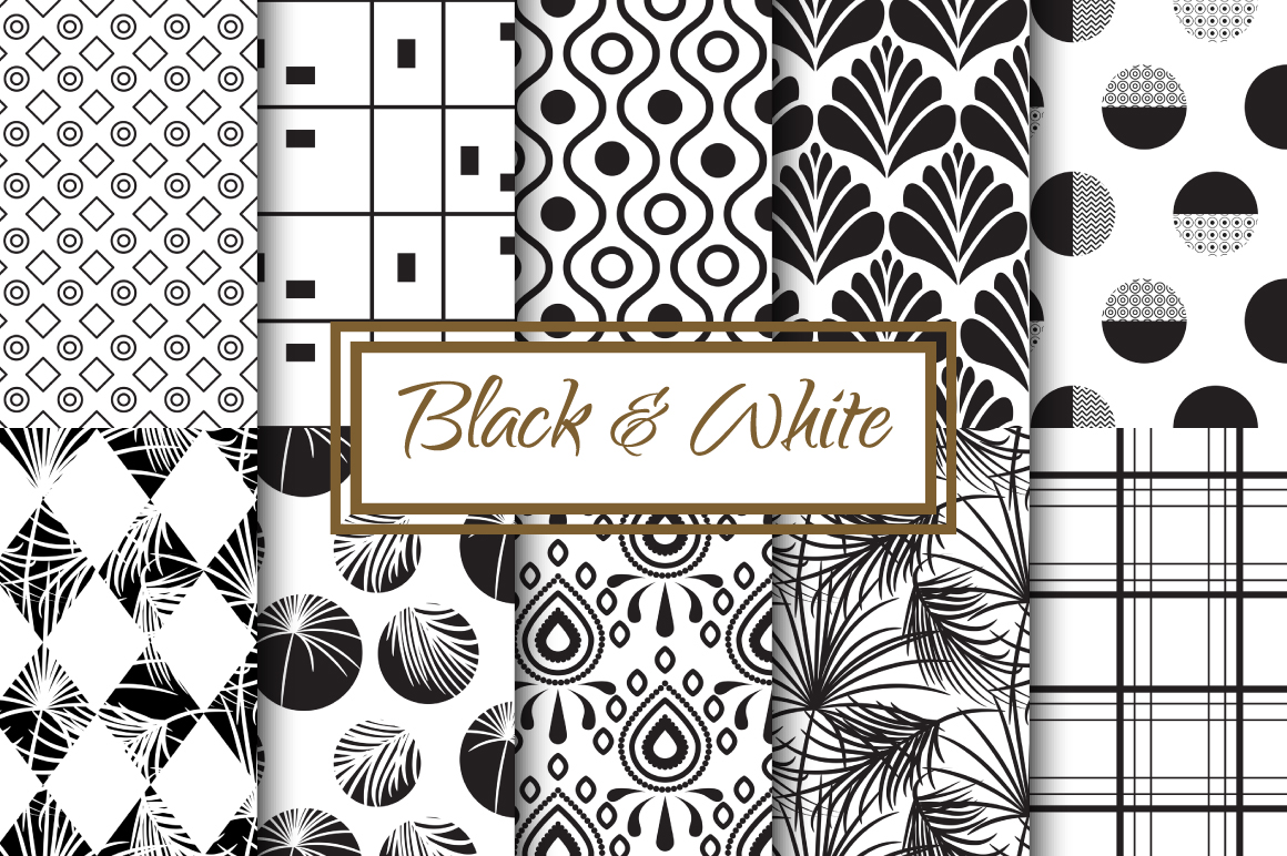 Black & White Seamless Patterns example image 1