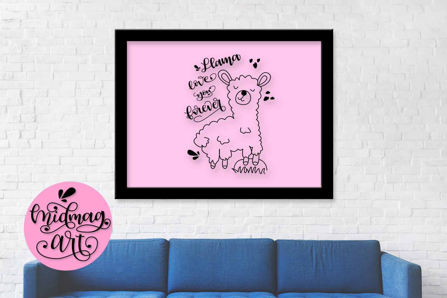 Llama love you forever svg, png, jpeg, eps and dxf example image 3