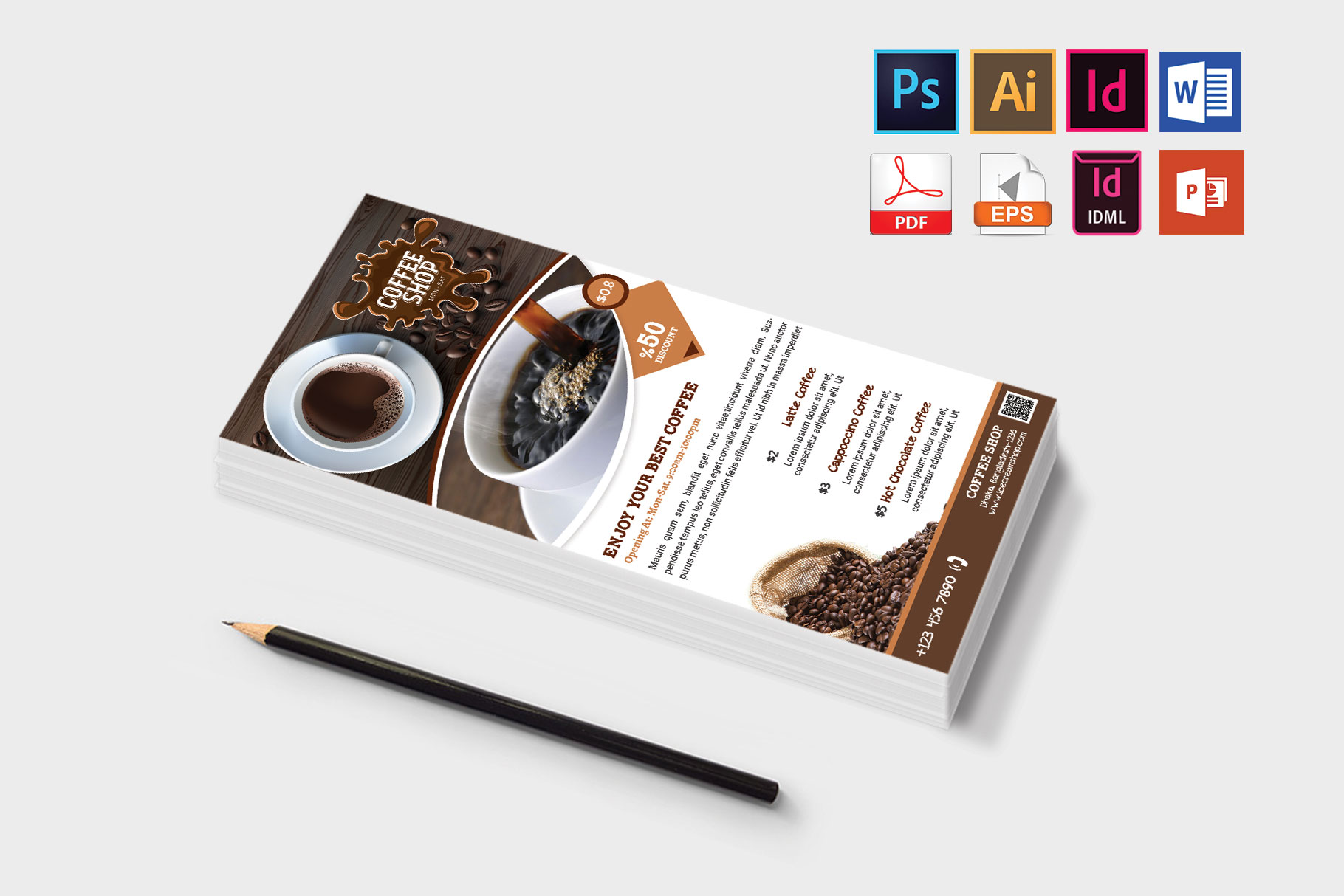 Rack Card | Coffee Shop DL Flyer Vol-01 example image 3