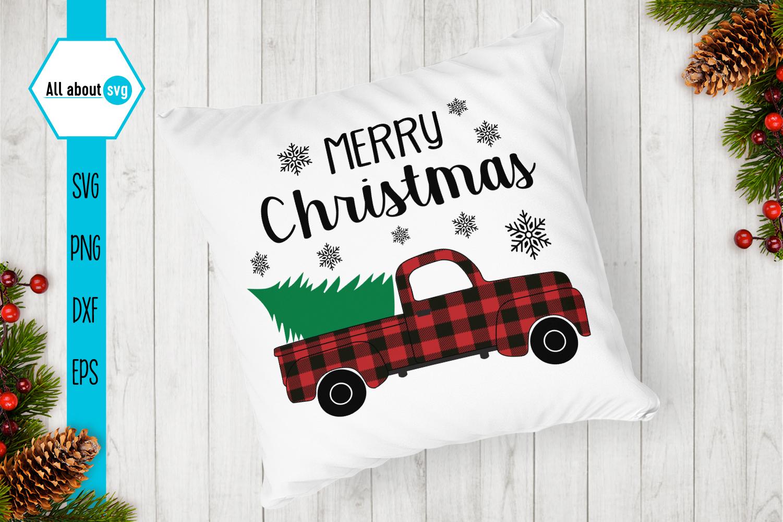 Merry Christmas Truck Svg, Buffalo Plaid Christmas Truck example image 4