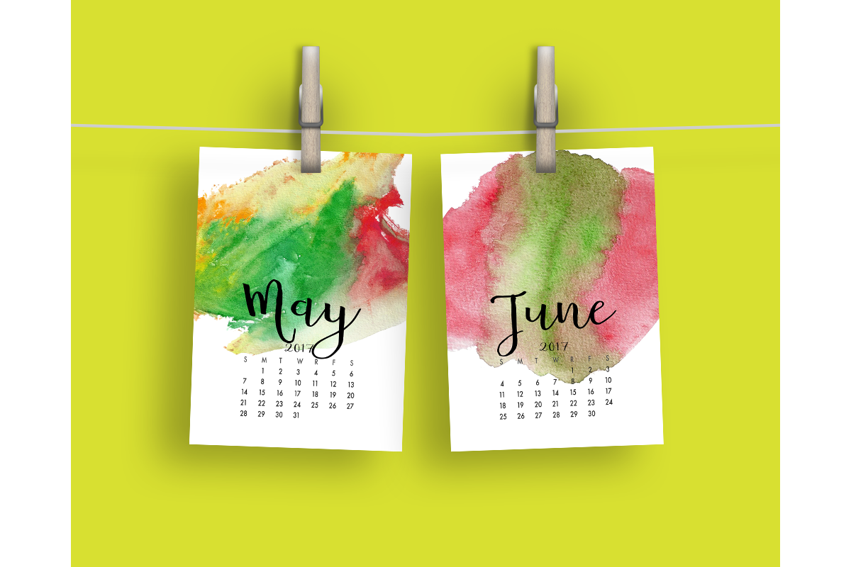 2017 Hand Paint Watercolor Calendar  example image 4