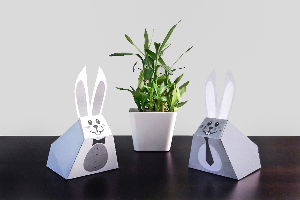 DIY Easter bunny favors - 3d papercraft example image 2